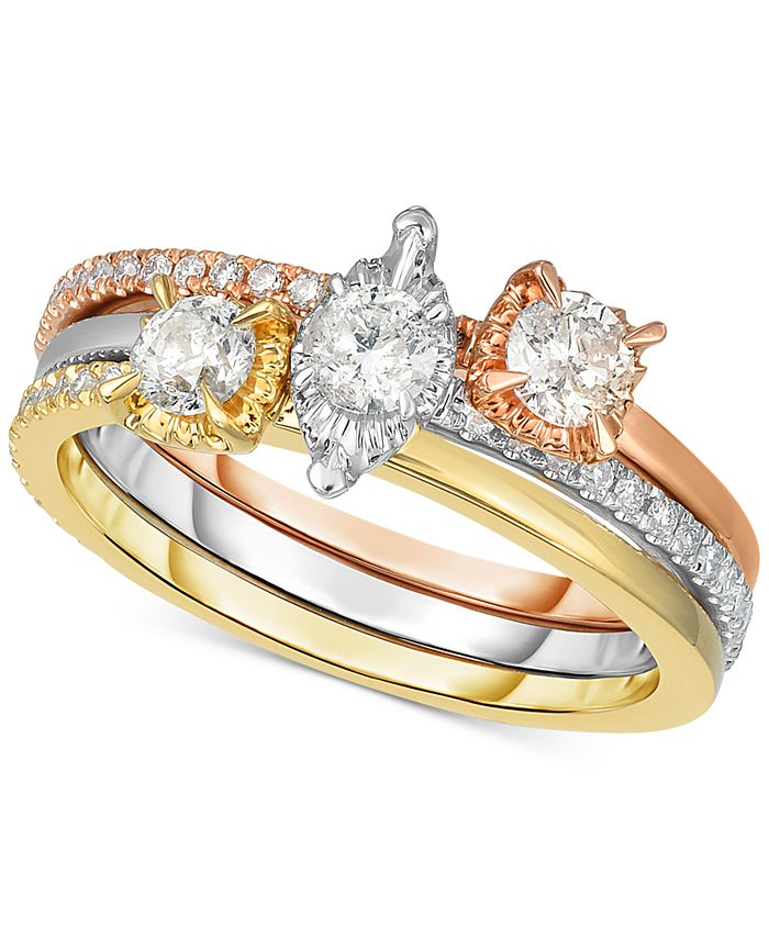 Macy's - 3-Pc. Set Diamond Stackable Rings (3/4 ct. t.w.) in 14k Gold, White Gold & Rose Gold