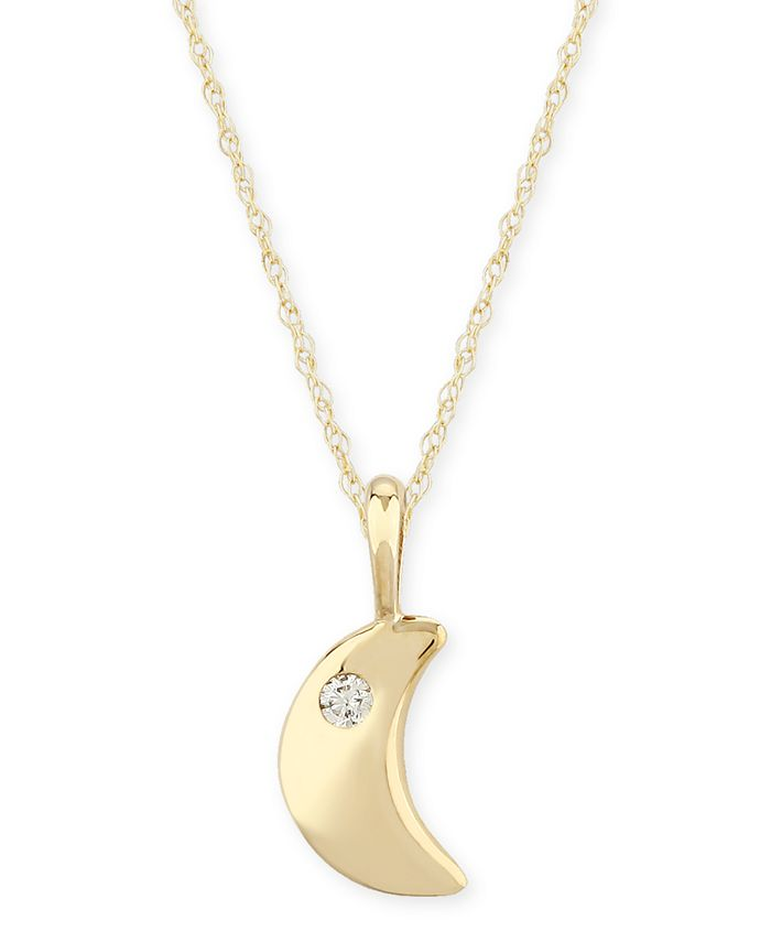 Macy's - Diamond Accent Solid Cresent Moon Pendant in 14K Yellow Gold