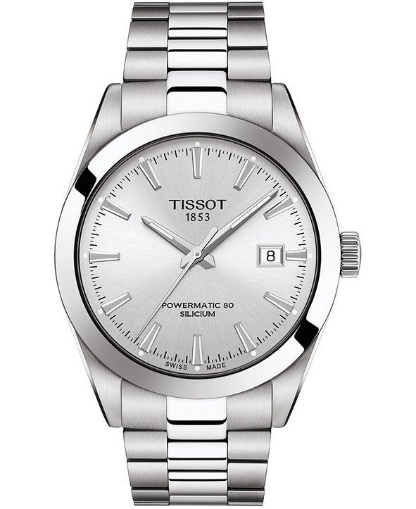 Tissot Men's Swiss Automatic T-Classic Gentleman Powermatic 80 Silicium Stainless Steel Bracelet Bracelet Watch 40mm