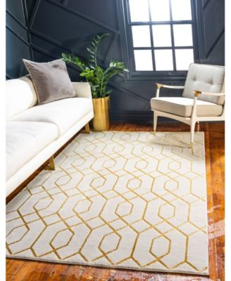 Glam Mmg001 White/Gold 4' x 6' Area Rug