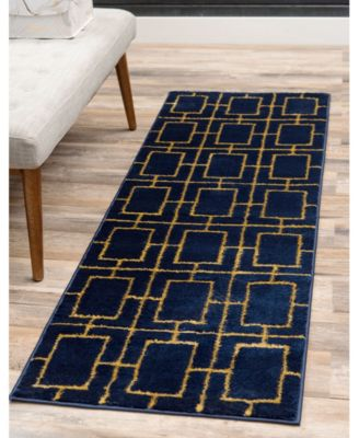 Glam Mmg002 Navy Blue/Gold 2' x 10' Area Rug