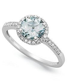 Aquamarine (1 ct. t.w.) and Diamond (1/8 ct. t.w.) Ring in 14k White Gold