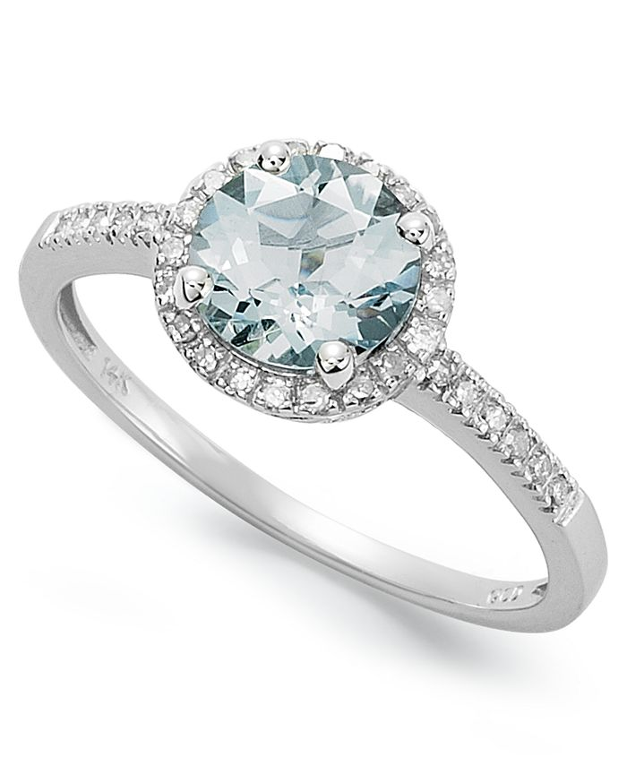 Macy's - 14k White Gold Ring, Aquamarine (1 ct. t.w.) and Diamond (1/8 ct. t.w.) Ring