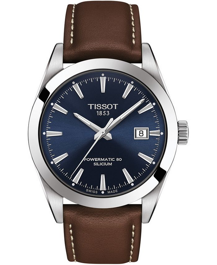 Tissot - Men's Swiss Automatic T-Classic Gentleman Powermatic 80 Silicium Brown Leather Strap Watch 40mm