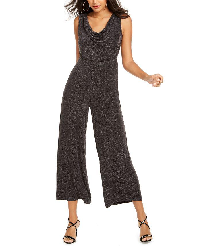 Thalia Sodi Metallic Cowlneck Jumpsuit Created For Macy S Reviews Pants Leggings Women Macy S