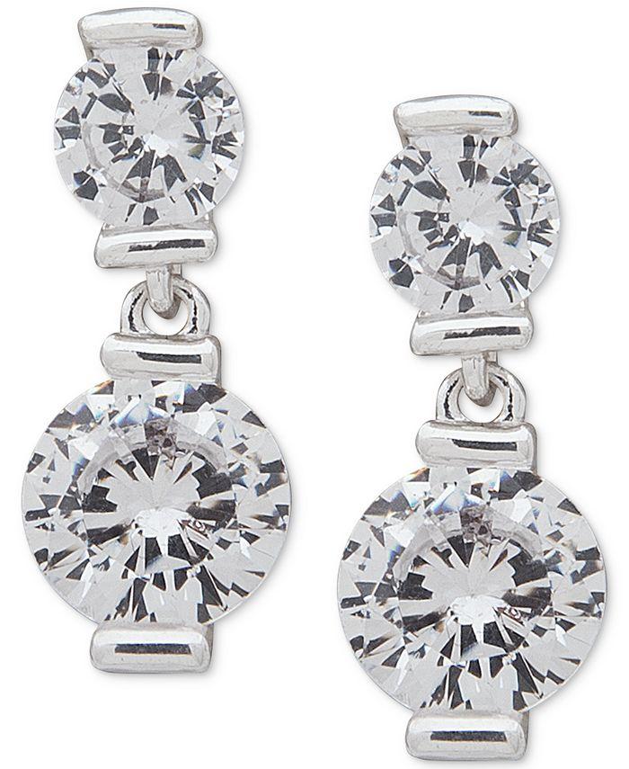 Anne Klein - Silver-Tone Crystal Double Drop Earrings