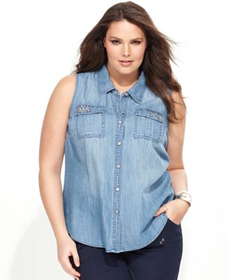 Inc International Concepts Plus Size Shirt Sleeveless