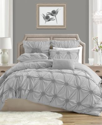 Charming Ruched Rosette Duvet Cover Set - King/Cal King