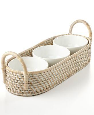 222 Fifth Serveware, Whitewashed Rattan Condiment Server