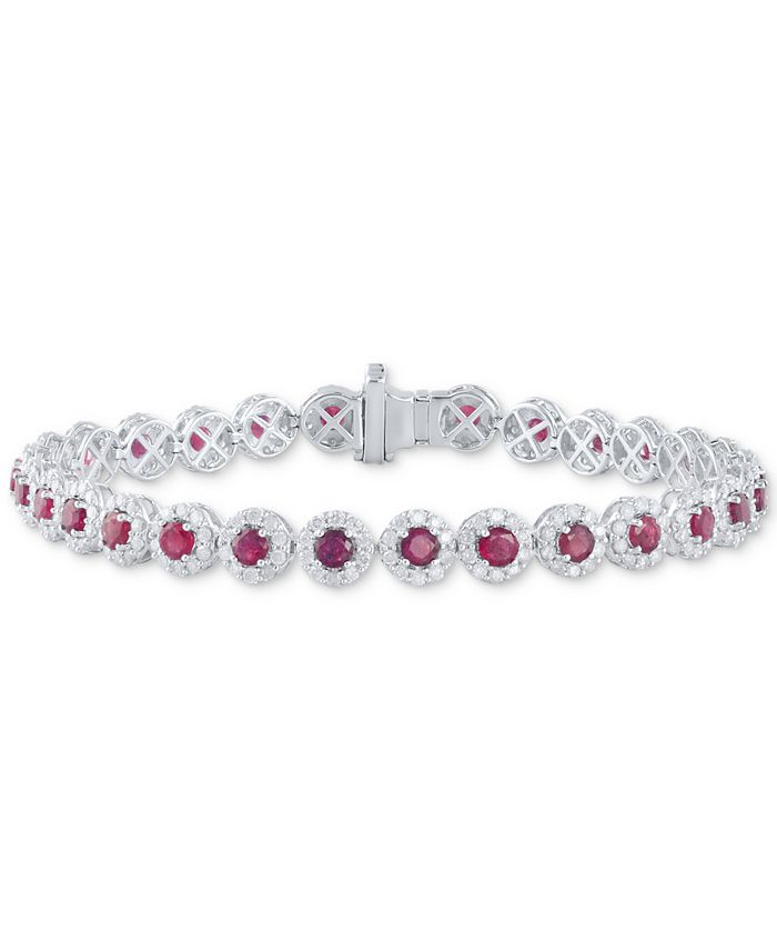 Macy's - Sapphire (5-1/2 ct. t.w.) & Diamond (3 ct. t.w) Tennis Bracelet in 14k White Gold (Also in Certified Ruby and Emerald)