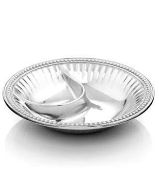 "Wilton Armetale ""Flutes and Pearls"" Chip & Dip Bowl"