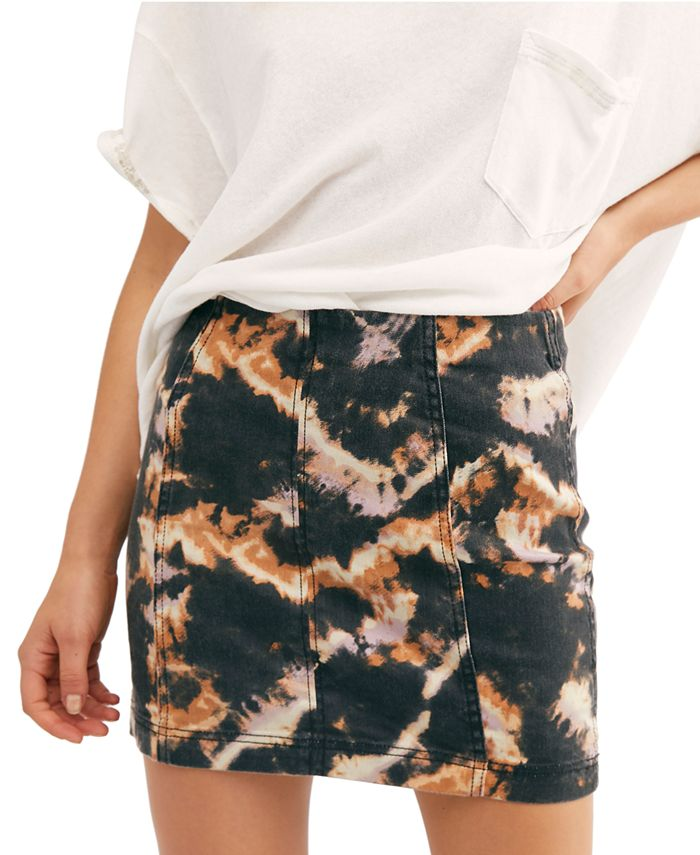 Free People - Modern Femme Printed Denim Skirt