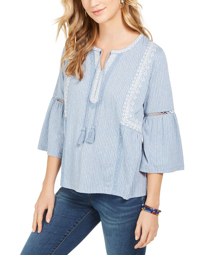Style & Co - Printed Peasant Top