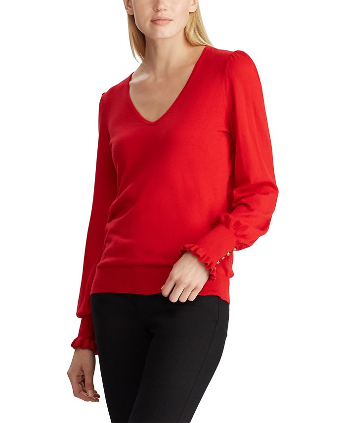 Lauren Ralph Lauren - Button-Cuff Long-Sleeve Sweater