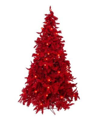 7.5' Pre-lit Red Christmas Tree with LED Lights