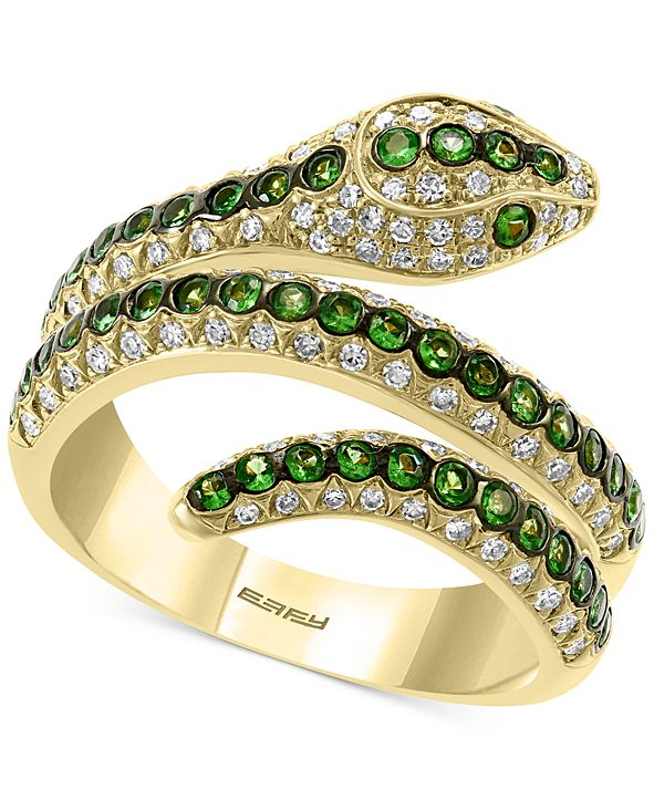 EFFY Collection EFFY® Tsavorite (1/2 ct. t.w.) & Diamond (3/8 ct. t.w.) Snake Ring in 14k Gold