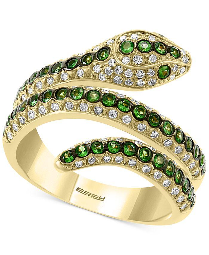 EFFY Collection - Tsavorite (1/2 ct. t.w.) & Diamond (3/8 ct. t.w.) Snake Ring in 14k Gold