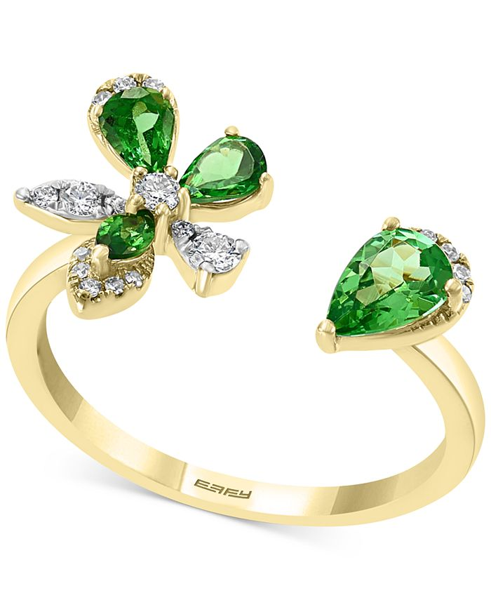 EFFY Collection - Tsavorite (3/4 ct. t.w.) & Diamond (1/6 ct. t.w.) Flower Cuff Ring in 14k Gold