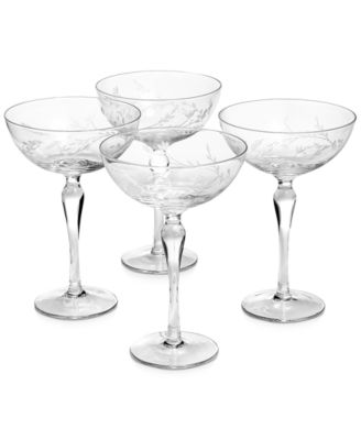 Etched Floral Coupe Glasses, Set of 4, Created for Macy's