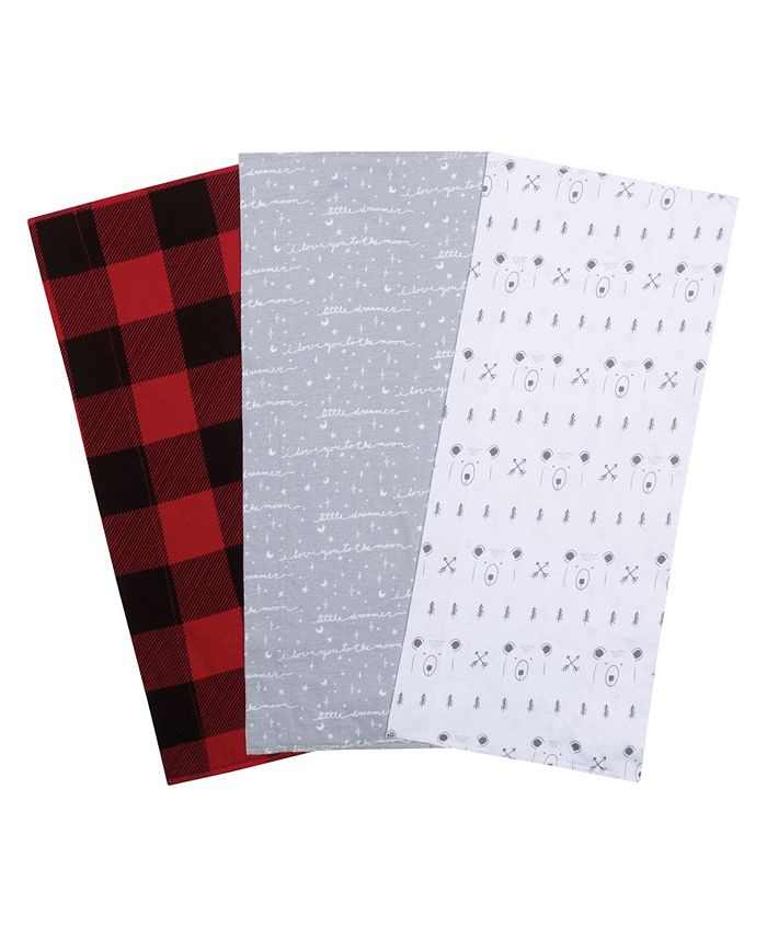 Trend Lab - Bear and Buffalo Check Jersey Burp Cloth 3-Pack