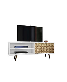 "Manhattan Comfort Liberty 62.99"" Mid Century - Modern TV Stand with 3 Shelves and 2 Doors"