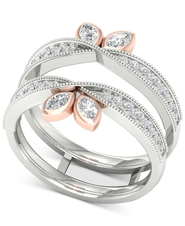 Macy's - Diamond Marquise Milgrain Enhancer Ring (1/2 ct. t.w.) in 14k White & Rose Gold