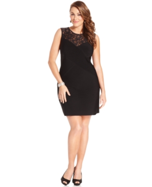 Calvin Klein Plus Size Dress, Sleeveless Lace-Inset Sheath