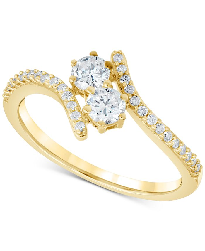 Macy's - Diamond Two-Stone Bypass Ring (1/2 ct. t.w.) in 14k Gold