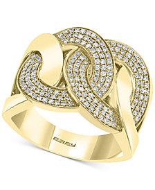 EFFY® Diamond Interlocking Chain Link Statement Ring (1/2 ct. t.w.) in 14k Gold