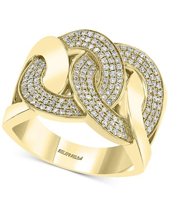 EFFY Collection EFFY® Diamond Interlocking Chain Link Statement Ring (1/2 ct. t.w.) in 14k Gold