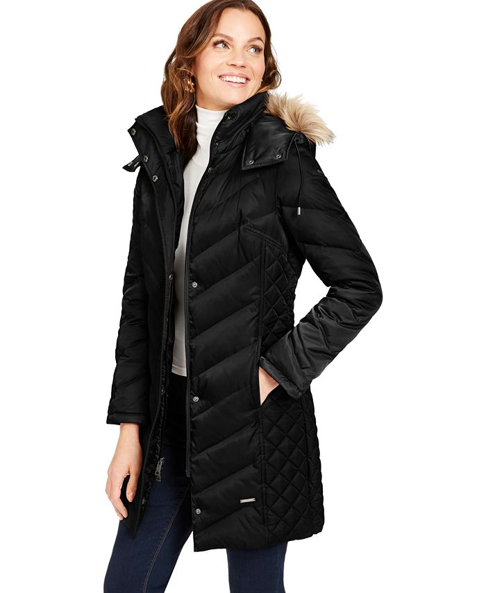 Kenneth Cole - Faux-Fur-Trim Hooded Puffer Coat