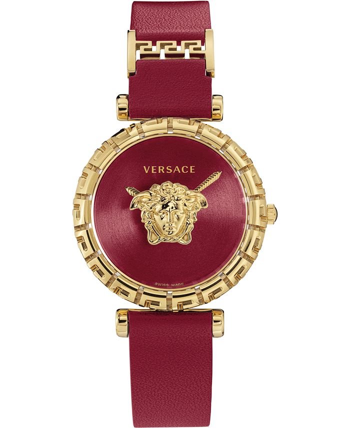Versace - Women's Swiss Palazzo Empire Greca Red Leather Strap Watch 37mm