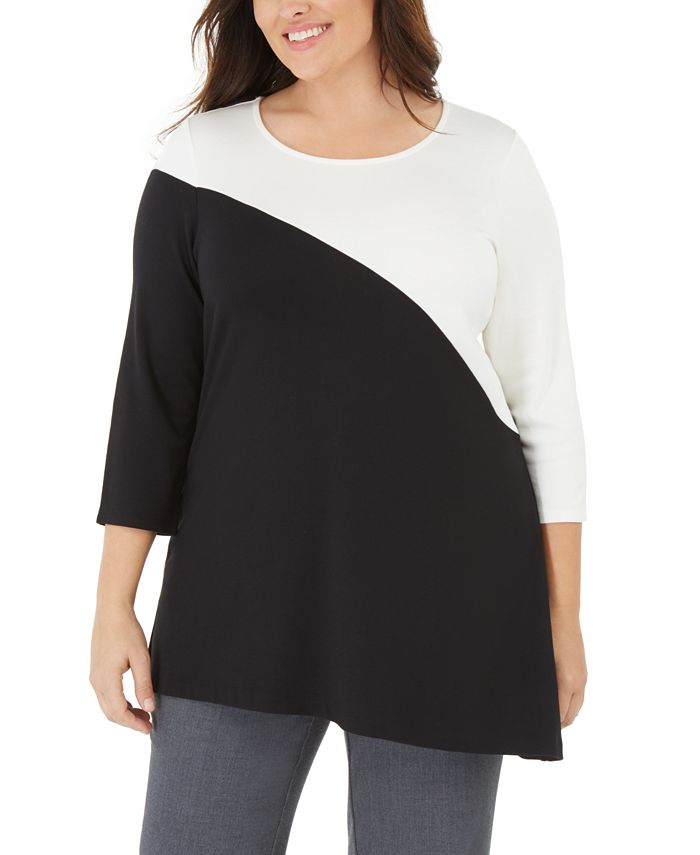 Alfani - Plus Size Colorblock Tunic