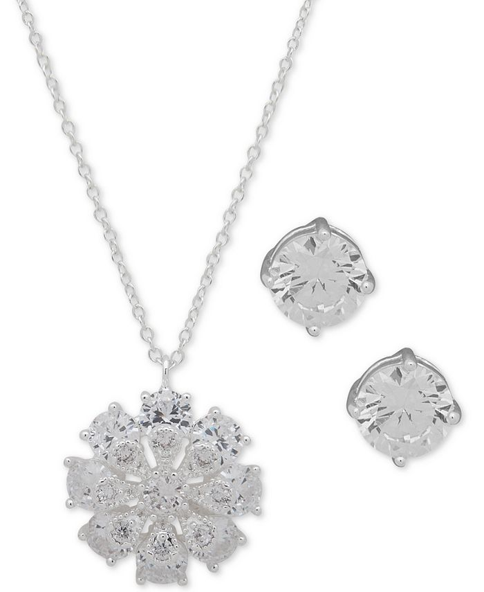 "Anne Klein - Silver-Tone Crystal Flower Pendant Necklace & Stud Earrings Set, 16"" + 3"" extender"