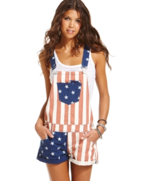 American Rag Juniors Shorts, Flag-Print Overalls $ 59.00