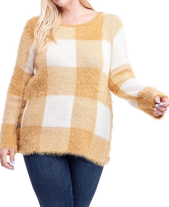 Fever - Plus Size Plaid Button-Side Sweater