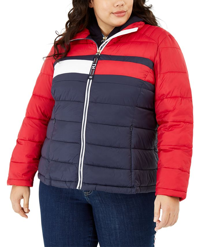Tommy Hilfiger - Plus Size Colorblocked Puffer Jacket