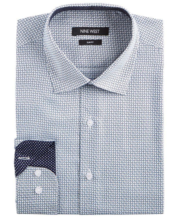 Nine West - Men's Slim-Fit Wrinkle-Free Performance Stretch White & Navy Print Dress Shirt