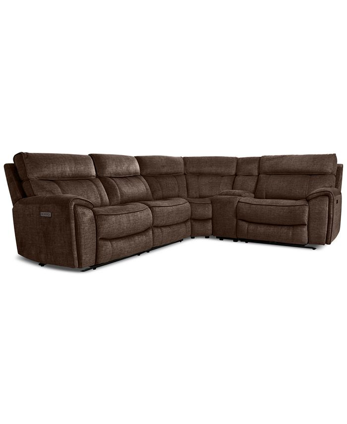 Furniture - Hutchenson 5-Pc. Fabric Sectional with 2 Power Recliners, Power Headrests and Console