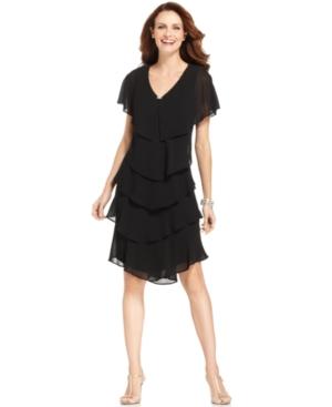 Patra Short-Sleeve Tiered Dress $109.00 AT vintagedancer.com