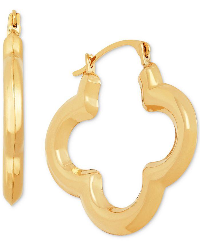 Macy's - Clover Small Hoop Earrings in 10k Gold