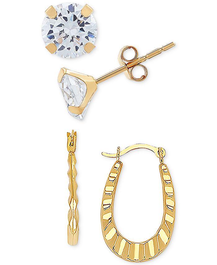 Macy's - 2-Pc. Set Cubic Zirconia Stud & Ruffle Oval Hoop Earrings in 10k Gold