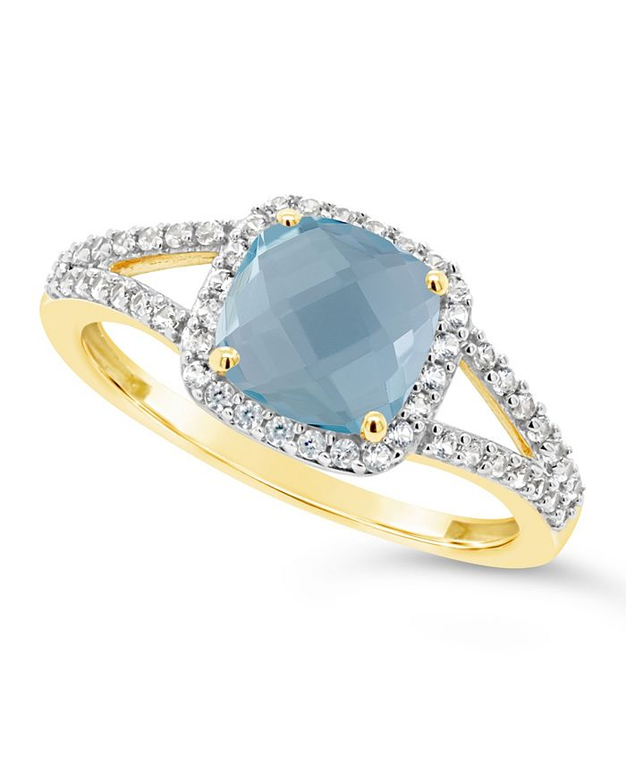 Macy's - Blue Topaz (1-5/8 ct. t.w.) and Created White Sapphire (1/4 ct. t.w.) Ring in 10k Yellow Gold