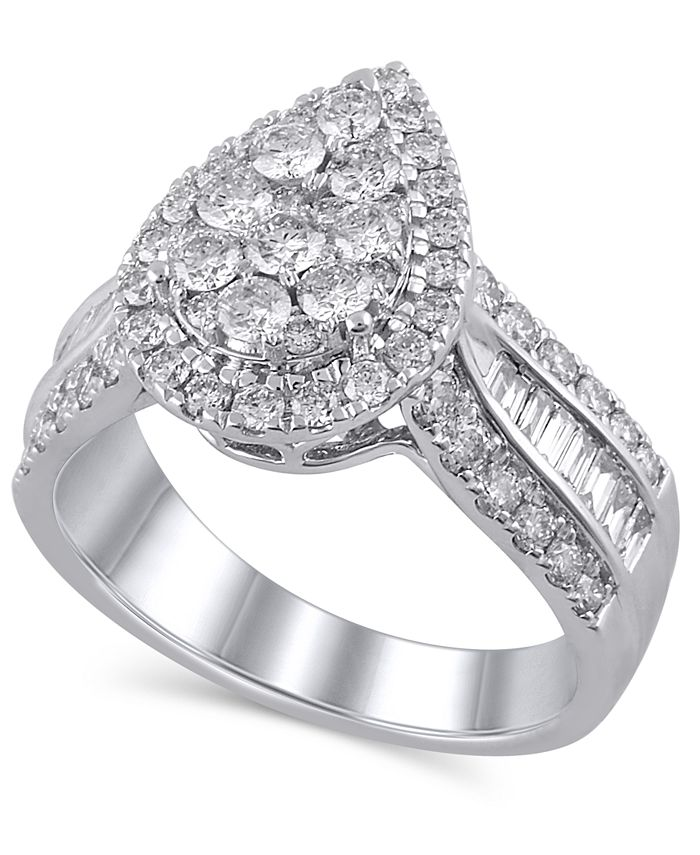 Macy's - Certified Diamond (1-1/2 ct. t.w.) Engagement Ring in 14K White Gold