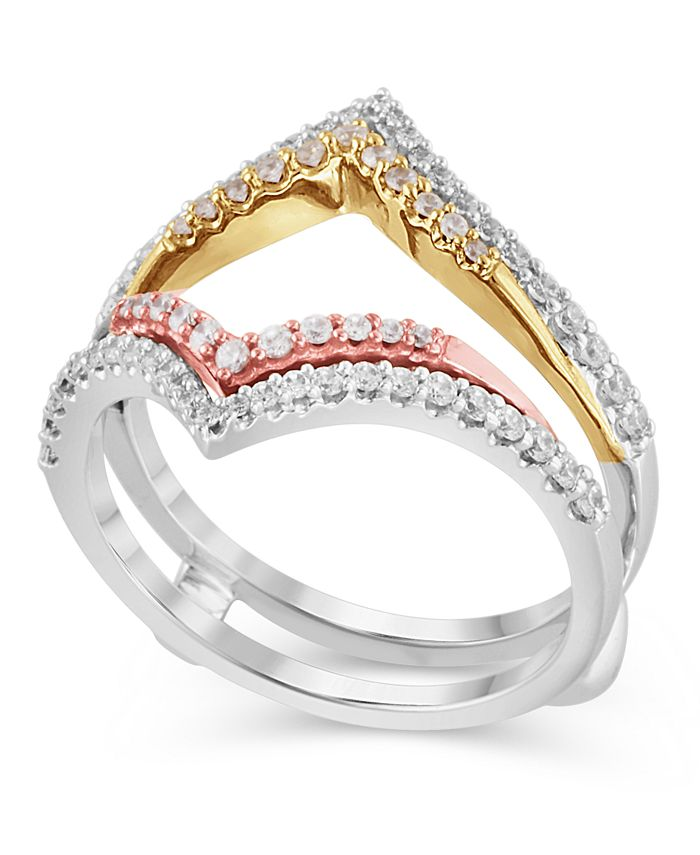 Macy's - Certified Diamond (1/2 ct. t.w.) Guard Ring in 14K White, Rose and Yellow Gold