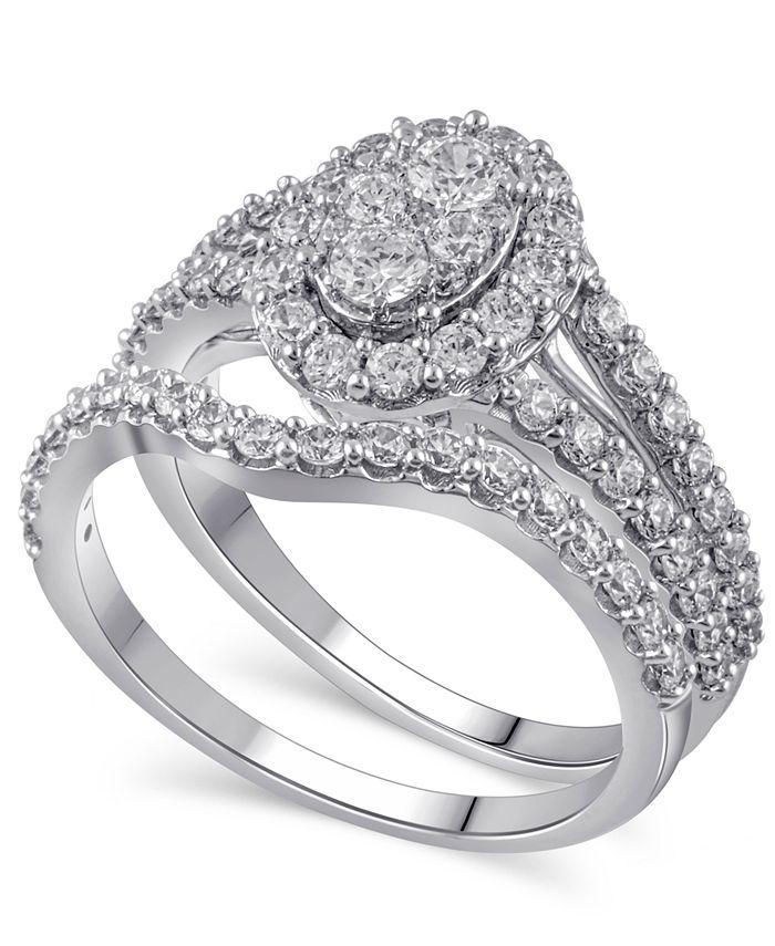 Macy's - Certified Diamond (1-1/2 ct. t.w.) Bridal Set in 14K White Gold