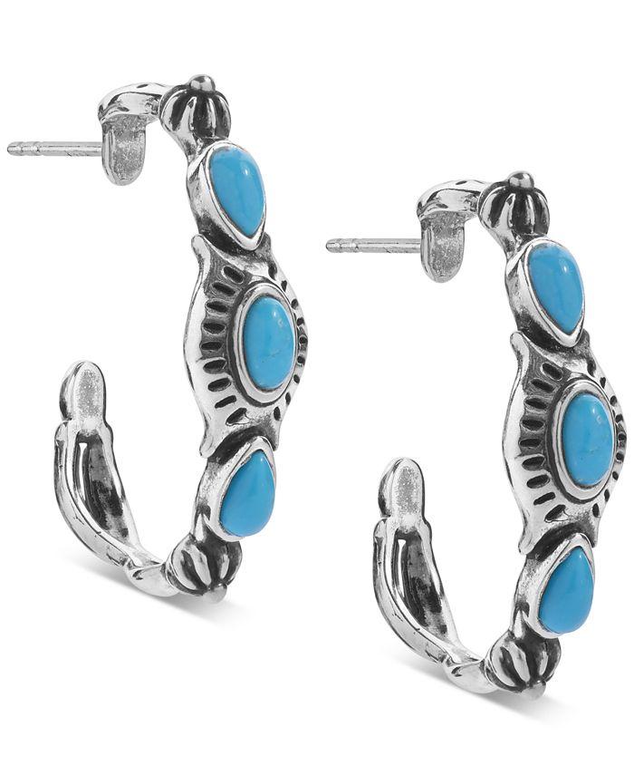 American West - Turquoise (3 x 5mm) Hoop Earrings in Sterling Silver