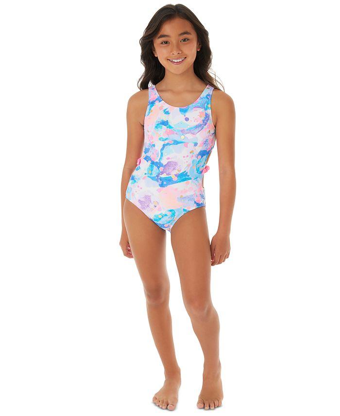 Glitter Beach - Big Girls 1-Pc. Printed Cut Out Swim Suit