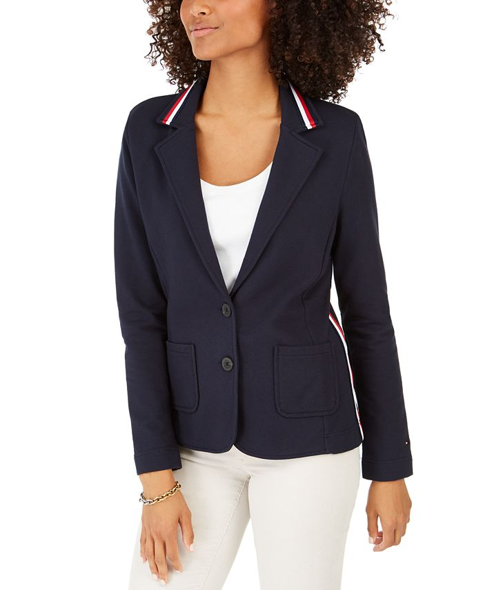 Tommy Hilfiger - Stripe-Trim Knit Blazer