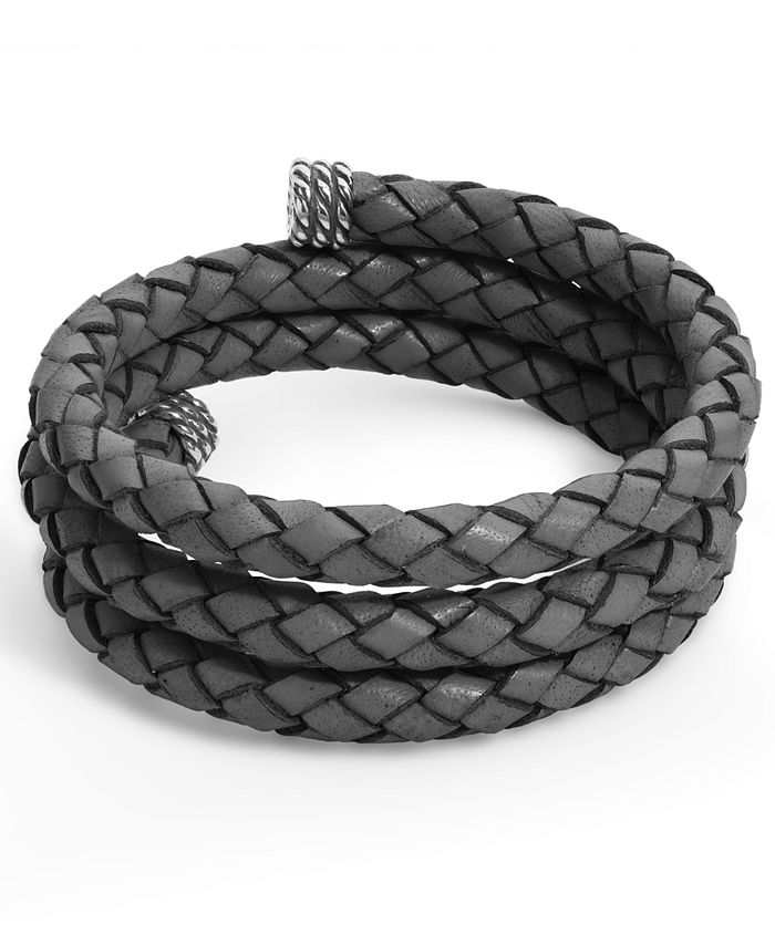 American West - Gray Braided Leather Wrap Bracelet in Sterling Silver